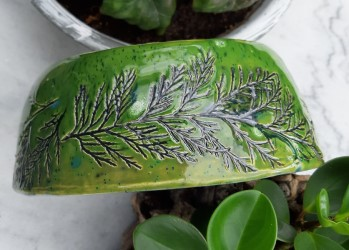 schaal-groen-bladafdruk